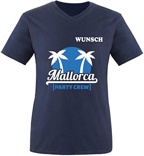 EZYshirt® Mallorca Party-Crew | Wunschname | Damen V-Neck T-Shirt Herren/Navy/Weiß/Blau