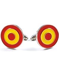 Gemelolandia - Gemelos escarapela española - raf española de forma redonda, color amarilla y roja