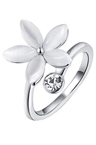 Anillo de cristalino de flor - SODIAL(R)Anillo de joyeria de diamantes de imitacion de flores de cinco petalos para mujeres (plata US 8)