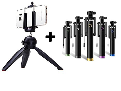 Unifree Mini Tripod + Universal Holder Clip, YT-228-A for Digital Camera & iPhone 7, 7s, 7s Plus, 6 Plus 6 5S 5C 4S & Samsung, Oppo, ViVo, Redmi, Coolpad, micromax, lenevo, Etc., Smartphones and Selfie Sticks/DSLR holder with FREE Wired selfie Stick
