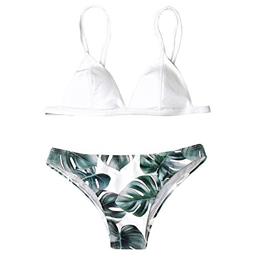 QingJiu Damen Bademode Bikini Set Print BläTter Push-Up Gepolsterte Badeanzug Beachwear (Weiß, Large)