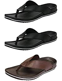 Ethics Men's Perfect Combo Pack of 3 Black and Brown Casual Slippers for Men's