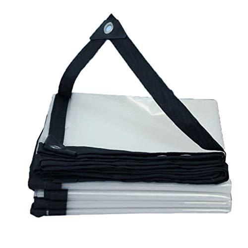 JHNEA Lona Transparente con Ojales, Lona de Vinilo Transparente Impermeable Multiusos para la Cubierta de la Piscina del Barco con Dosel,White_2x4.5m
