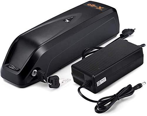 X-go E Bike AKKU 36V 48V / 10Ah Lithium Li-Ion Akku mit Ladegerät und BMS Protection Board, Pedelec Fahrräder Elektrischer Fahrradakku 500W (Schwarz) (48V 10Ah) [Europäische Lieferung]