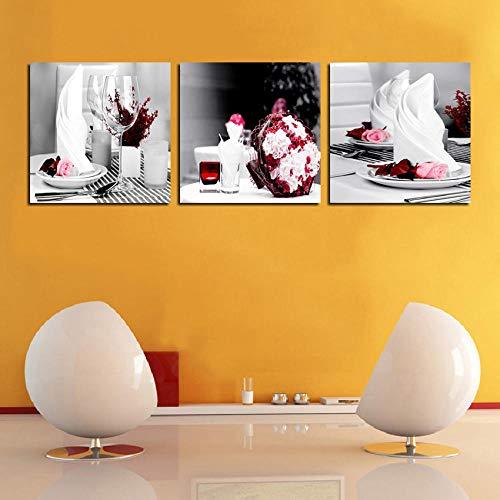 MEPAIN 3 Stück EIS Leinwand Malerei Dessert Shop Dekoration Gläser Bilder Wandkunst Wohnkultur Für Wohnzimmer @ 35 cm x 50 cm x 3 stücke_gerahmt