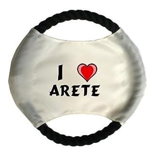 Personalisierter Hundefrisbee mit Aufschrift Ich liebe Arete (Vorname/Zuname/Spitzname)