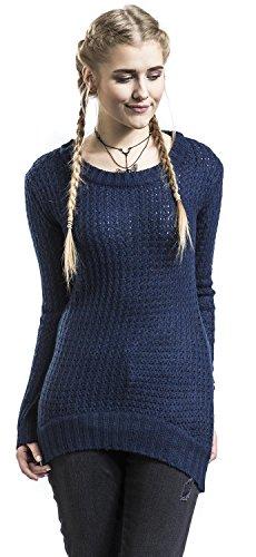 R.E.D. by EMP Long Wideneck Sweater Pullover donna blu navy blu navy