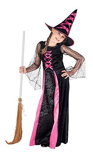 Nerd Clear Hexe Kostüm für Mädchen | 2-teilig: Kleid & Hut | hochwertig & ideal für Karneval, Fasching & Halloween: Größe: 4-6 Jahre