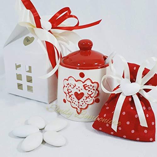 Bomboniere matrimonio zuccheriera con cuori elegante ed utile complete di kit confezionamento