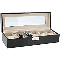 BLACK CROCO PRINTED LEATHERETTE 5 WATCH DISPLAY BOX CASE BY AEVITAS
