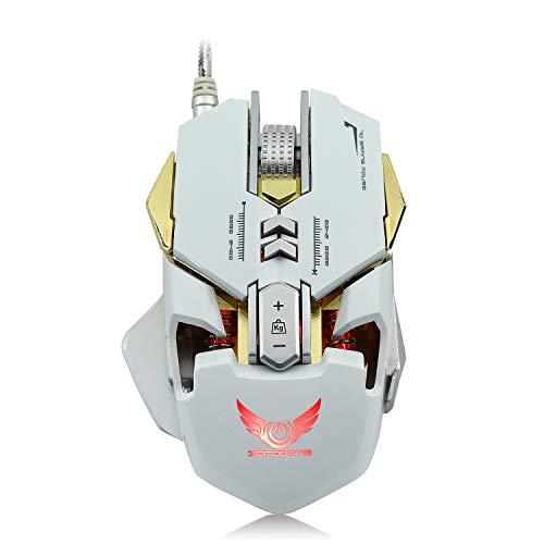 BAIYI Kabelgebundene USB-LED-Maus Optische Gaming-Maus 7-Tasten-einstellbare DPI-Leitungslänge 1,6 M für Windows 2000 / XP / Win7 / Win8-PC-Maus,White - White Mobile Maus