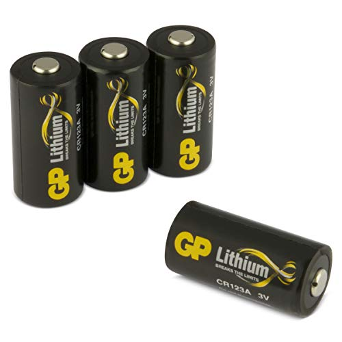 GP Batterien Lithium CR123A Schwarz-Gold (CR17345, 5018LC) 3 Volt (3V) für Digitalkameras, Alarmanlagen, Rauchmelder, Taschenlampen, etc. (4 Stück) Cr123 Lithium 3v Batterie
