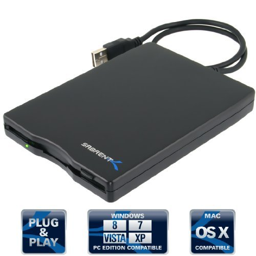 Sabrent Externes Diskettenlaufwerk (1,44 MB, USB 2.0) Schwarz