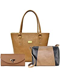 Flora Premium PU Leather Women's Handbag With Sling Bag And Hand Clutch Combo Of 3 (Beige_FLORA-145))