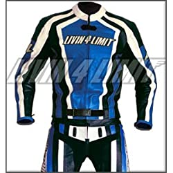 4LIMIT Sports 200100000210 Traje para Moto de Cuero, Azul/ Negro / Blanco, 5XL