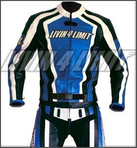4LIMIT Sports Motorrad Lederkombi LAGUNA SECA Zweiteiler, Blau-Schwarz-Weiß, Größe M