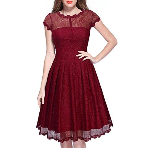 Manadlian-Robes Longue, Robe de Soirée Longue Robe de Cocktail Femmes Dentelle Manches Courtes Sexy Dos Nu Party Cocktail Slim Plus Mini Robe Vin rouge