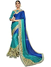 Shangrila Women's Blue & Green Color Satin Weightless Printed & Lace Border Saree