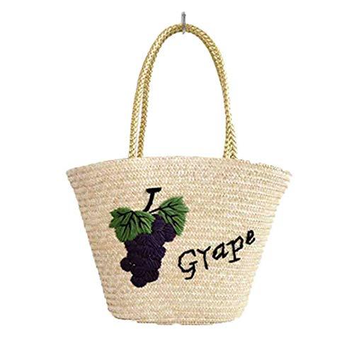 Frauen-Stroh-Handtaschen-Sommer-Art- und Weisestrand-Rattan gesponnene Schulter-Kuriertasche Grape -