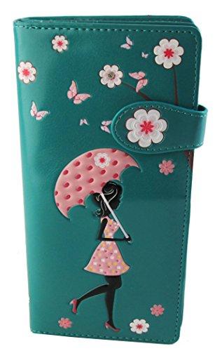 Shagwear portafoglio per giovani donne , Large Purse : Diversi colori e design: pioggia fiorita turchese/ Blossom Shower