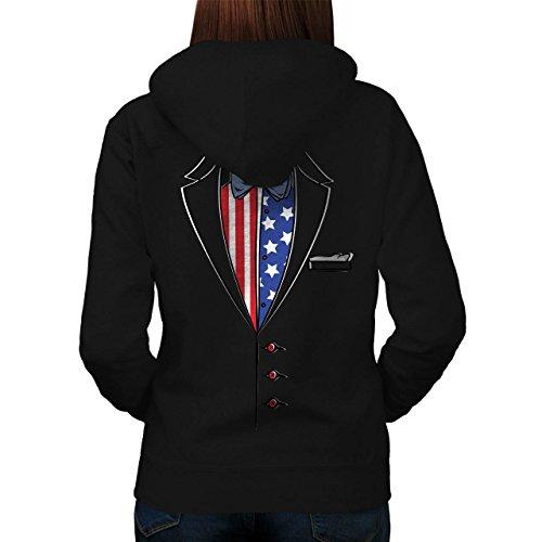 USA Flagge Anzug Mode Damen S Kapuzenpullover Zurück | Wellcoda