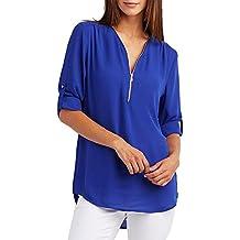 GUOCU Camicia Donna OL Elegante Maniche 3/4 Bluse Maglia Casual Chiffon Shirt Sexy V Scollo Tops Primavera Estate Moda