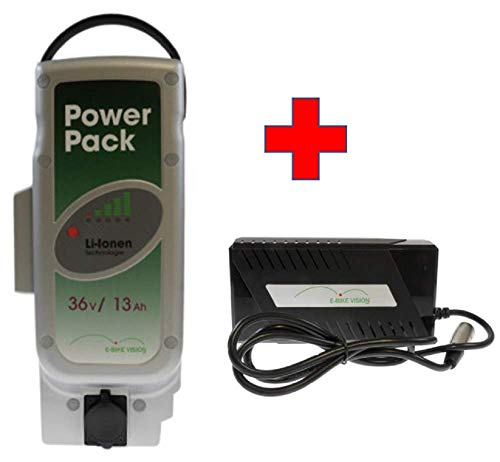 Akkuman.de Set E-Bike Vision Power Pack Ersatzakku für Panasonic Antriebsystem 36V 13Ah 468 Wh + 4A Ladegerät Panasonic Power Pack