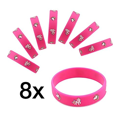 8x Einhorn / Unicorn Armband Silikon Mitgebsel Gastgeschenk für Kindergeburtstag Mädchen & Jungen von TK-Gruppe