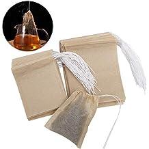 9b27226e3 OUNONA 200pcs bolsas de te desechables bolsas de filtro para té de hojas  sueltas (9