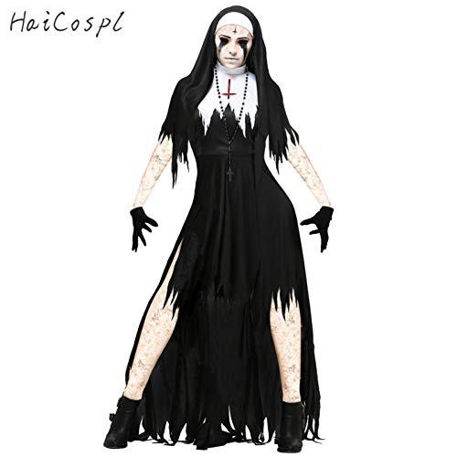 Nonne Fantasy Kostüm - MHPY HalloweenHalloween Nonne Cosplay Kostüm Damen Schwarz Vampire Fantasy Kleid Terror Schwester