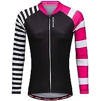 LSKCSH Mujeres Coloridas de la Bicicleta Ciclismo Transpirable de Secado rápido Camisa de Manga Larga Jerseys Ciclo de la Bici de Manga Larga Chaqueta (Simetría, M)