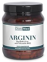 L-Arginina Cápsulas – Concentradas y puras – 3.652 mg Polvo de L-Arginina + 2,5 µg de Vitamina B12 – por dosis diaria (4 cápsulas) – 330 Cápsulas – Calidad farmacéutica de fabricación alemana