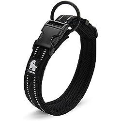 Rantow Cuello de perro fuerte transpirable Collar de perro de seguridad ajustable cómodo para perros pequeños / medianos / grandes (Negro) (S 35-40cm)