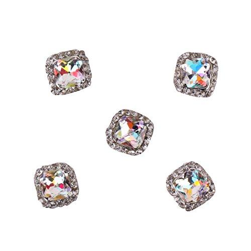 RAIN QUEEN 5Pcs Carré Gemme Plein de Cristal de Bijoux Accessoire Nail Art 3D Décoration Ongle