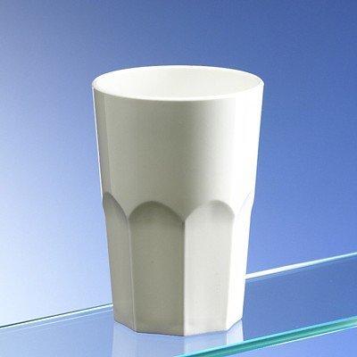 Avenue's Dishwasher Safe Set of 6 Unbreakable Reusable Polycarbonate White Plastic Octagon shaped 15 OZ Tumblers. (428ml/ 15oz to rim Height 12cm, Max Diameter 8.5cm)