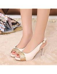 LvYuan-ggx Damen High Heels Komfort PU Sommer Normal Komfort Schwarz Beige  2,5 a0ba61b8b2