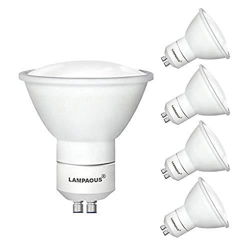 lampaous LED Lampe 5 Watt GU 10, 50W Halogenlampe ersetzt, Naturweiß Weiß Neutralweiss 4500K 120°Abstrahlwinkel, LED Spot SMD Strahler Birnen Einbaustrahler Reflektorlampe mit Schutzglas, 4er Pack - Milchglas Led Birne