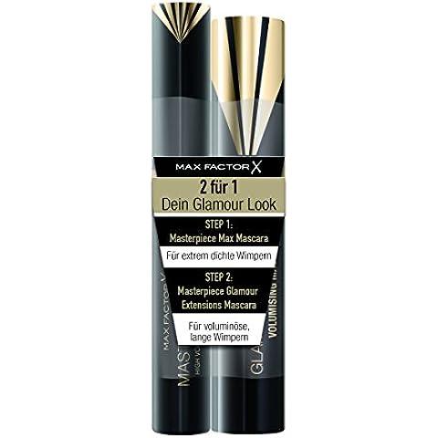 Max Factor Mascara Set, obra maestra de Max negro más negro de la obra maestra Extensiones Glamour, 2er paquete (2 x 7 g)