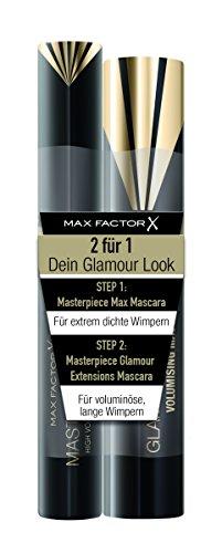 Max Factor Mascara Set, Masterpiece Max black plus Masterpiece Glamour Extensions black, 2er Pack (2 x 7 g) -