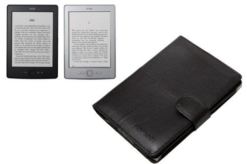 Leder Tasche für Amazon Kindle 4, schwarz -