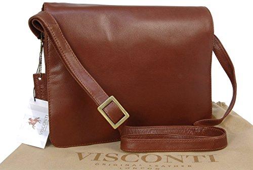 Organizer-Umhängetasche aus Leder von Visconti (754) - Braun - Größe: B: 27 H: 20 T: 8 cm (Organizer Leder-notebooktasche)