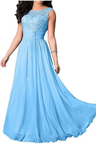 TOSKANA BRAUT Elegant Royalblau Neu Bodenlang Spitze Rund Traeger Abendmode  Promkleider Abendkleider Partykleider Blau