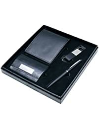 4 In 1 Wallet Set With Leather Wallet,Black Metal Pen,Metal Keychain And Two Sidded Card Holder (Without Customization)