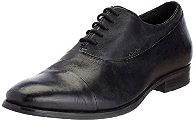 Geox Men's Black Leather Formal Shoes - 7 UK