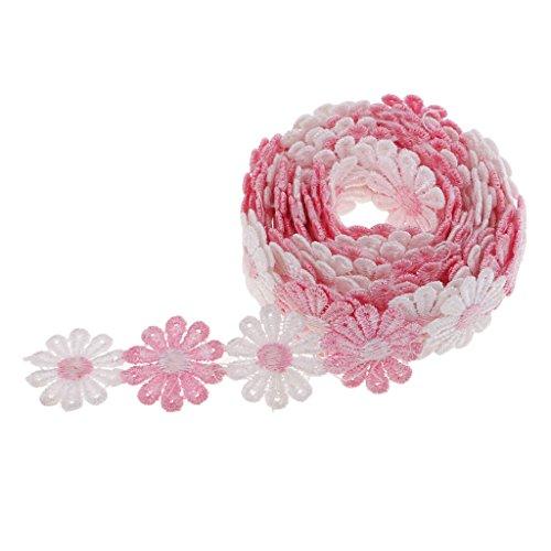D DOLITY Daisy Blumen Stickerei Bänder Satinband Seidenbänder Schleifenband Hochzeit Dekoband Satin Geschenkband - Rosa Weiß, 3 Yard