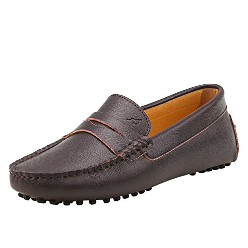 Shenduo mocassini donna in pelle liscia comode loafers scarpe casual d7052 marrone 41