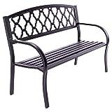 Nexos Gartenbank Parkbank Aluminium 128x50x87 cm 3-Sitzer Alu-Bank Sitzbank Gartenmöbel – Farbe: grau
