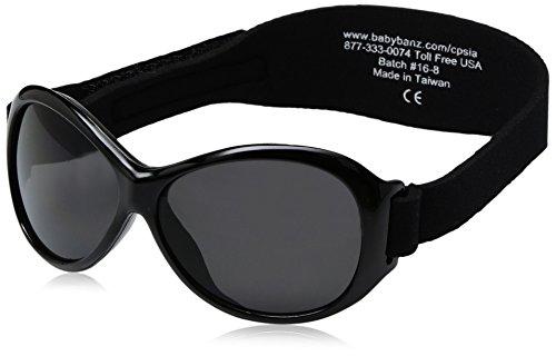 Baby Banz 00068 Sonnenbrille Retro Kidz mit elastischem Neoprenband, für Kopfumfang 50-60 cm (circa bis 2-5 jahre), UV400, schwarz
