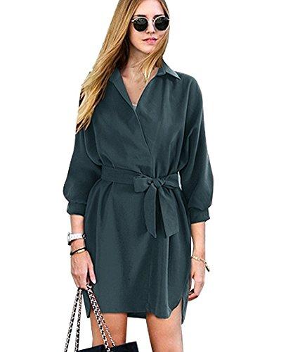 SaiDeng Femme Robe Elégante Courte À Manches Longues Lâche Tunique Robe De Cocktail Vert Foncé