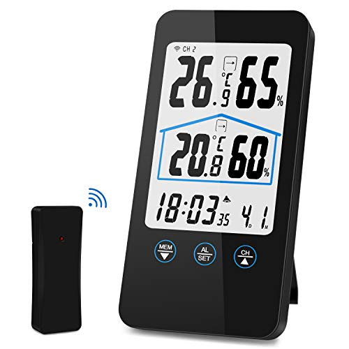 Wetterstation, kunfuren Funk Wetterstation mit Außensensor, Digital Innen und Außenthermometer Hygrometer, LED-Anzeige, Wettervorhersage mit Alarmgrenzen/Symbolen, DCF Empfangssignal,Uhren